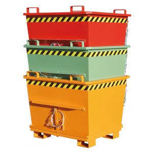 Klappbodenbehälter Typ BKB lackiert in RAL3000, RAL6011 und RAL2000 - gestapelt