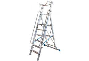 Stabilo Stufen-Stehleiter mit großer Standplattform und Sicherheitsbügel